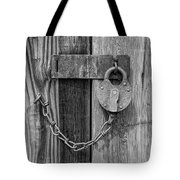 Belmont Lock, Black And White Tote Bag by Leland D Howard