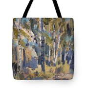 Birch Trees Along The Pond De Melle Tote Bag