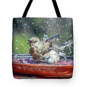 Bird In A Bath Tote Bag