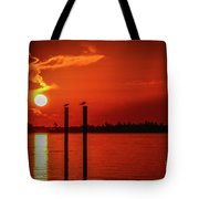 Bird On A Pole Sunrise Tote Bag