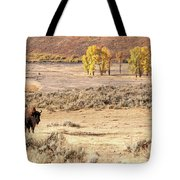 Bison And Cottonwoods Tote Bag