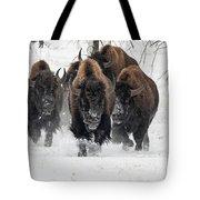 Bison Bulls Run In The Snow Tote Bag