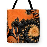 Black And Orange  Swirls Tote Bag