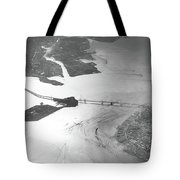 Black And White Aerial View Of Downtown San Francisco With Sun R Tote Bag