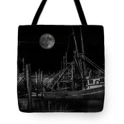 Black And White Art Fishing Boat And Full Moon Tote Bag