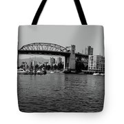 black and white panorama of Vancouver from plaza of nations showing the beautiful city Tote Bag