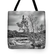 Black And White Photograph Of Link Falls At Bull Creek District Park Greenbelt - Austin Texas Tote Bag