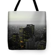 Black And White Tokyo Skyline At Night With Vibrant Selective Yellow Colors Tote Bag