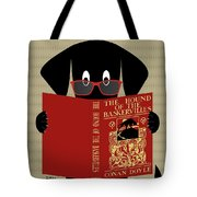 Black Dog Reading Tote Bag by Donna Mibus