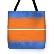 Blue And Orange Abstract Theme Iv Tote Bag