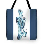 Blue Nude Woman Model Gesture Watercolor Xxxviii Tote Bag