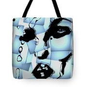 Blue Pop Art Woman's Face 1960's Retro Tote Bag
