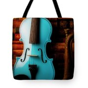 Blue Violin And Old Books Tote Bag