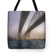 Blue Water Bridge Fog Tote Bag