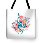Blue Watercolor Snake In The Flower Garden Tote Bag