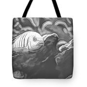 Blue Zebra Above Cave Art Sketch Tote Bag by Don Northup