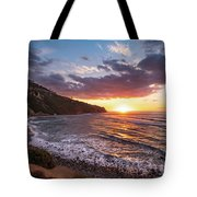 Bluff Cove At Sunset Tote Bag by Andy Konieczny