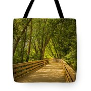 Boardwalk Through The Woods Tote Bag by Keith Smith