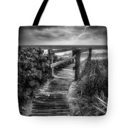 Boardwalk To The Sea In Radiant Black And White Tote Bag