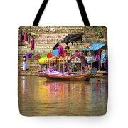 Boat And Bank Of The Narmada River, India Tote Bag