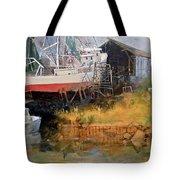 Boat In Drydock Tote Bag