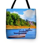 Boats At The Ferry Crossing Painting Tote Bag