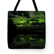 Boot Lake Green And Purple Northern Lights  Tote Bag