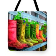 Boots Galore Tote Bag by Debra and Dave Vanderlaan