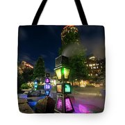 Boston Colored Steam Lights Boston Ma Rose Kennedy Greenway Steamy Tote Bag