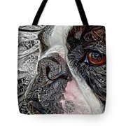 Boston Terrier Up Close And Personal Tote Bag by Peggy Collins
