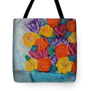Bouquet In Blue Tote Bag
