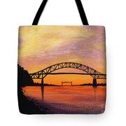 Bourne Bridge Sunset Tote Bag