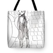 Boy On The Street Pencil Drawing Tote Bag