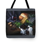 Bread And Wine Tote Bag by Clint Hansen
