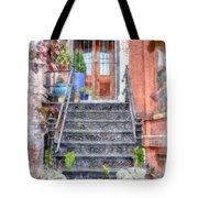 Brick Townhouse Walkup Watercolor Tote Bag