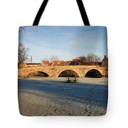 bridge over river Tyne in Haddington in winter Tote Bag