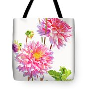 Bright Pink Dahlias With Buds Tote Bag