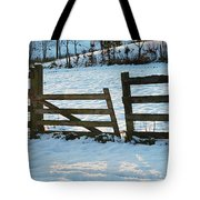 Broken Fence In The Snow At Sunset Tote Bag