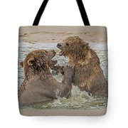 Brown Bears Fighting Tote Bag by Larry Linton