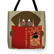 Brown Dog Reading Tote Bag by Donna Mibus