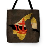 Brunei Country Flag Map Tote Bag