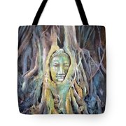 Buddha Head In Tree Roots Tote Bag