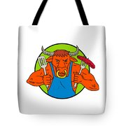 Bull Holding Barbecue Sausage Drawing Color Tote Bag