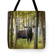 Bull Moose In Fall Forest Tote Bag