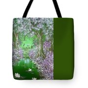 Bunnies Welcome At The Camp Fire In Green Tote Bag