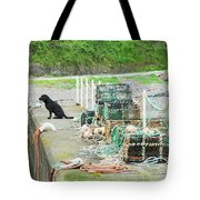Burnmouth Harbour With Dog On Pier And Lobster Pots Tote Bag