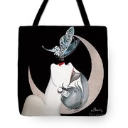 Butterfly Kiss French Art Deco Flapper Woman Tote Bag