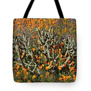 Cactus Poppies And Bluebells Tote Bag