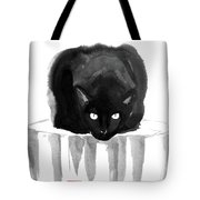 Cat On Wood Tote Bag