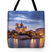 Cathedral Notre Dame And River Seine Tote Bag